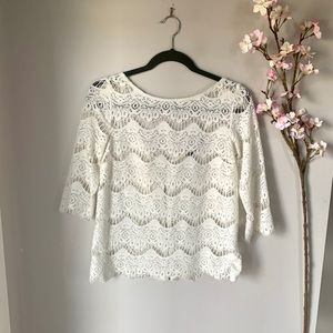 ZARA / CREAM CROTCHET ZIP BACK TOP